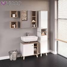 vicco badmöbel set senyo badschrank spiegel unterschrank bad weiß sonoma eiche