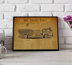 100 Fire Truck Wall Art Truck Poster Vintage Art Fighter Poster Gift Etsy