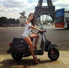 Vespa Girl Scooter Bike Lambretta Scooters Motor Motorcycle Girls Biker Eiffel Towers