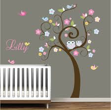 Owl Bedroom Wall Stickers by Children Wall Decal White Pink Girls Nursery Vinyl Wall Stickers