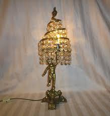Swarovski Crystal Lamp Finials by Vintage Italian Cherub Putti Lamp Crystal Prisms Gilt Cast Brass
