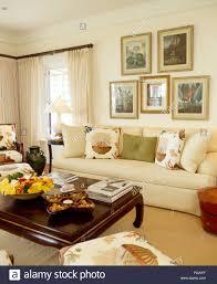 gruppe gerahmte botanische drucke über weißen sofa mit