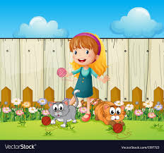 A Girl Playing With Her Cats Inside The Fence Vector Image