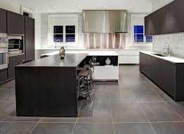 Modern Kitchen Flooring Cozy Marvelous With Large Square Slate Tiling Sleek Dark Wood Photo Of Fresh