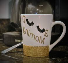 Unique Promise Cute Coffee Cups Good Morning Mug Eye Lashes Drawing