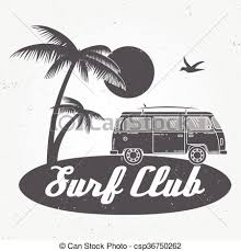 Surf Club Concept Vector Summer Surfing Retro Badge Surfer Emblem Rv Outdoors Banner