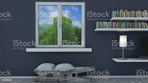 innenarchitektur wohnzimmer und moderne möbel blaue wand fenster mit blick auf einen park repräsentative penthouse sitzplatz in der form einer