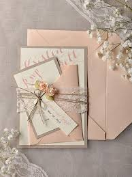 Custom Listing 20Grey Peach Wedding Invitation Vintage Lace Invitations Rustic Belly Band