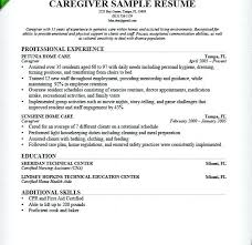 Sample Caregiver Resume Download With No Experience