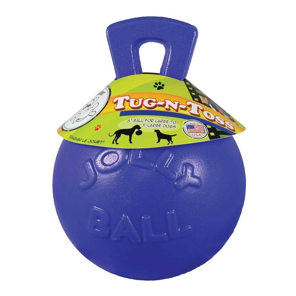 Jolly Pets Tug-n-Toss Heavy Duty Chew Ball DogToy - with Handle, Blue, 10""