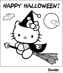 Peachy Design Ideas Color Pages For Halloween Printable Hello Kitty Happy Witch Coloring Page At