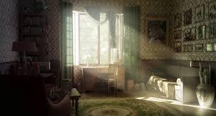 Interior Design Retro Vintage Warm Sunlight Room Wallpaper