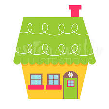 Cute Little Yellow House Digital Clipart Home Clip Art Yelow Green Graphic And Illustration 055