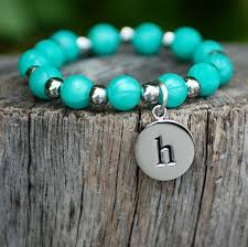 Erin Initial Pearlized Turquoise Rustic Cuff