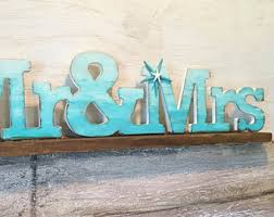 Mr And Mrs Table Sign Beach Wedding Signs