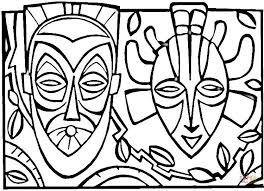 Click The African Masks Coloring Pages