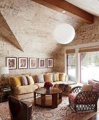 Rustic Living Room With Sloping Ceiling Design And Wooden Furniture Sets