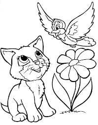 Spring Coloring Pages Printable Beautiful Kitten Bird Flower Page