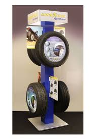 Goodyear 4 Sided Freestanding Tire Display Free Stand POP Automotive Product Feature Retail