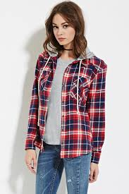 forever 21 hooded plaid flannel shirt in red lyst