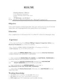 Sample Resume Of Electrician Maintenance And Apprentice Electrical Technician