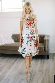 ivory tropical floral swing modest dress best online modest