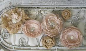 Burlap Cake Flowers Fabric Top Wedding Rustic Decor Set Of 6