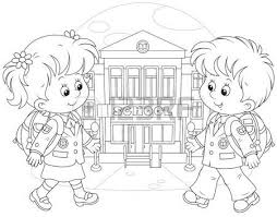 go to school clipart black and white 6