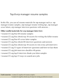 Top 8 Erp Manager Resume Samples In This File You Can Ref Materials For