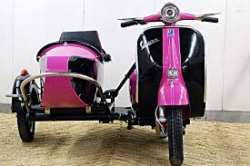 1966 Black And Pink Vespa 150 Scooter With Sidecar Buy It Now 190000