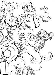 Tigress Kick Destroying Canon In Kung Fu Panda Colouring Page