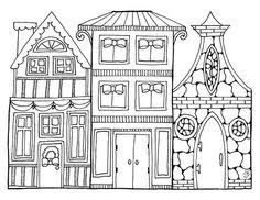 Christmas Village Coloring Page Printable Pages For Children And