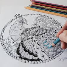 Colouring Book For Adults By Jenny Gollan Peacock Print And Colour Printable