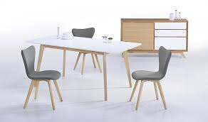 table à manger blanche en bois avec rallonge 150 180 cm