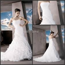 mermaid wedding dresses white sweetheart feather layered ruffles
