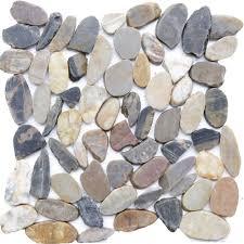 islander mosaic 12 in x 12 in sliced pebble