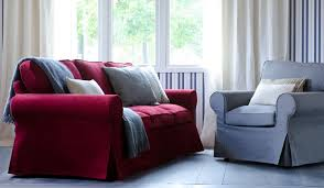 Ikea Ektorp Chair Cover Svanby Beige by Ektorp 2 Seat Sofa Bed From Ikea With A Crimson Red Cover From