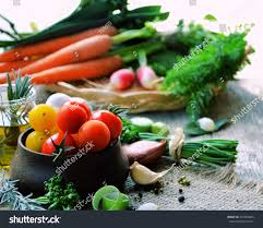Organic Vegetables Healthy Cooking Concept Rustic Style Food Styling