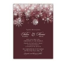 Snowflake Winter Wedding Invitations Burgundy