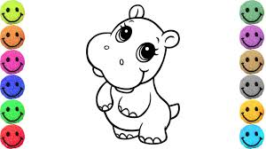 How To Draw Baby Hippo Coloring Pages For Kids