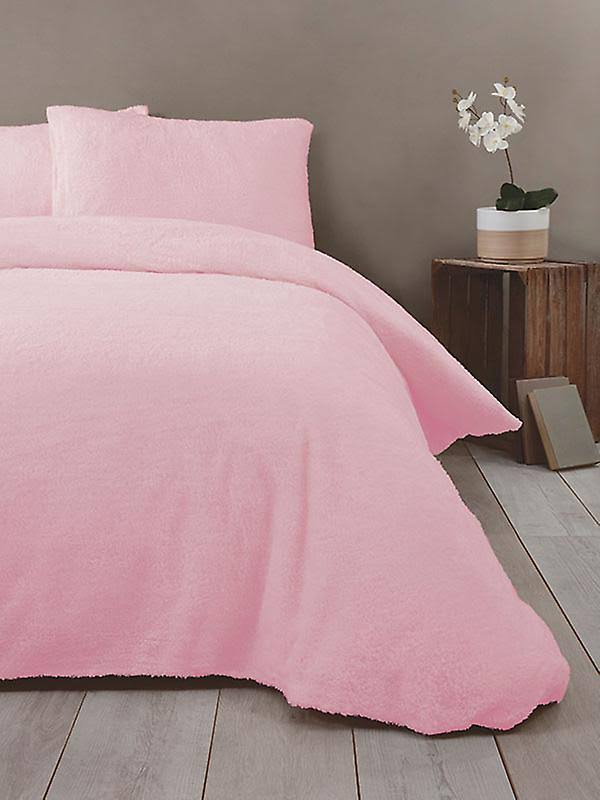 Rapport Super Soft Teddy Single Duvet Cover Set Pink