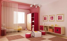 Modern Red Girl Bedroom Design With Devider Ideas
