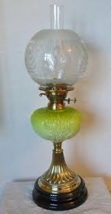 Antique Kerosene Lanterns Value by Vintage Duplex England Brass Student Oil Lamp Desk Green