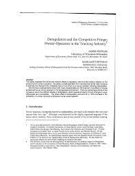100 Trucking Deregulation PDF And The Competitive Fringe Owner