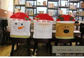 Christmas Dining Room Chair Covers For The Spirit Of Decorations Snowman Santa Claus Elk Back Cartoon Cove