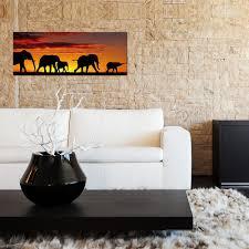 glasbild 80x30cm wohnzimmer afrika elefanten