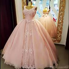 soft pink ball gown prom dresses 2018 lace appliques corset back