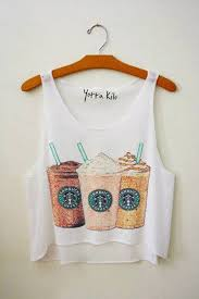 Tank Top Clothes Brand Starbucks Coffee Crop Frappuccino Cute White Print T Shirt Starbuck Undefined