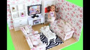 Barbie Living Room Furniture Diy by Easy Diy Barbie Chelsea Size Living Room Dollhouse With Tableware