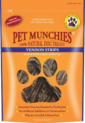 Pet Munchies Natural Dog Treats - Venison Strips, 75g
